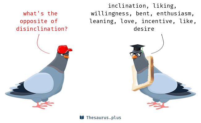 Antonyms for disinclination