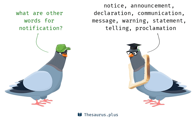 Synonyms for notification