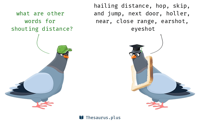 Synonyms for shouting distance