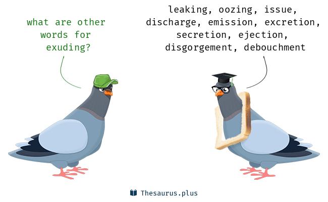 Exuding words exuding and effluent have similar meaning